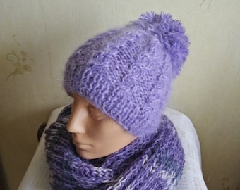 Knitted hat  with  handmade pom-pom, wool hat, winter hat, warm hat, mohair hat