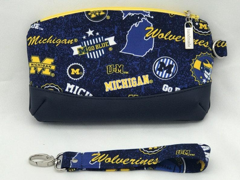 University of Michigan Wristlet  Handmade