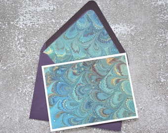 Green and Purple Marbled Stationery Set with Envelope Liner, Letter Writing Set