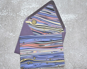 Purple Metallic Marbled Stationery Set with Envelope Liner, Letter Writing Set
