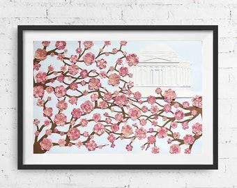 "Pink Cherry Blossom Marbled Washington DC Jefferson Memorial Handmade Wall Art, Wall Decor - 18x24"""