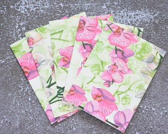 Phalaenopsis Orchid Pink and Green Handmade Note Card Set, Stationery Set