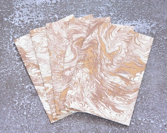 Marbled Gold and Brown Italian Handmade Note Card Set, Stationery Set for Him