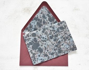 Black and Silver Metallic Marbled Stationery Set with Envelope Liner, Letter Writing Set, Penpal Set