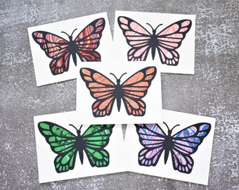 Monarch Butterfly Overlay Handmade Marbled Note Card, Stationery Set