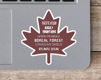 Maple Leaf Sticker, Canada Sticker, Travel Sticker, Vinyl Decal, Canada Gift