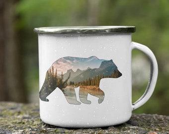 Bear Enamel Camping Mug