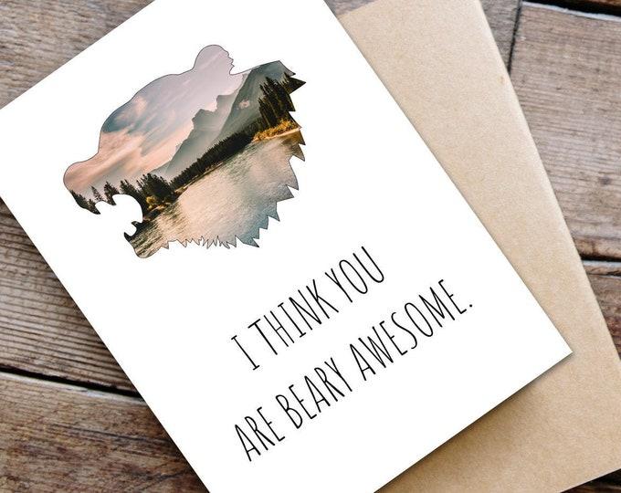 Funny Bear Head Greeting Card