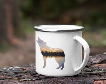 Enamel Wolf Mug