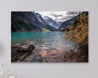 Fall Canvas Print - Autumn Leaves Print - Mountain Print - Fall Home Decor - Lake Louise - Banff National Park - Rustic Home Decor -