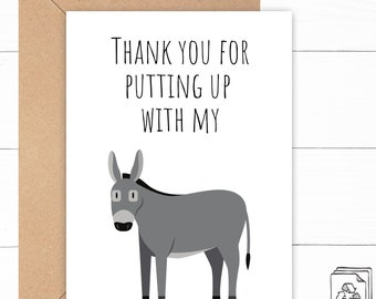 Funny Donkey Thank You Card