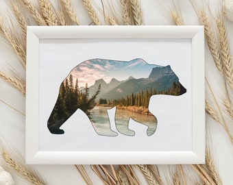 Bear Wall Art Print, Mountain Print, Rustic Wall Art, Cottage Decor, Bear Birthday Gift, Mountain Gift