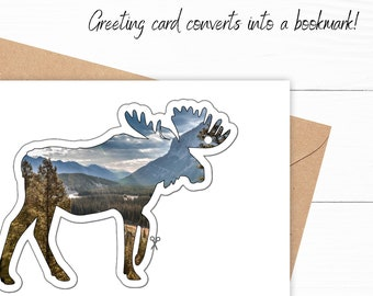Moose Bookmark Birthday Card