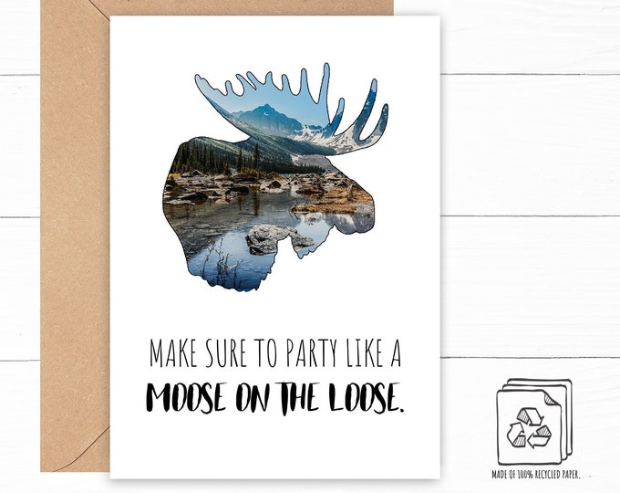 Featured listing image: Moose Birthday Card