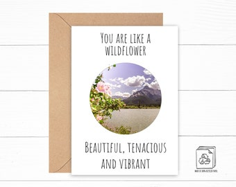 Wildflower Card - Flower Card - Mountain Greeting Card - Personalized Card - Botanical Birthday Card - Cherry Blossom Card - Plant Art Card