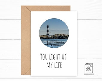 You Light Up my Life Card - Funny Anniversary Card - Lighthouse Card - I Love You Card - Custom Card for Any Occasion - Best Friend Gift