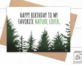 Nature Lover Birthday Card - Pine Tree Birthday Card - Forest Birthday Card -  Happy Birthday - Nature Lover Gift - Eco Friendly Gift