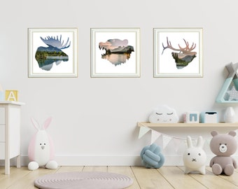 Woodland Animals Wall Art Prints, Set of 3 Wildlife Prints, Mountain Wall Art, Rustic Home Decor, Woodland Nursery Room Decor