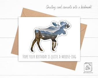 Moose Bookmark Birthday Card