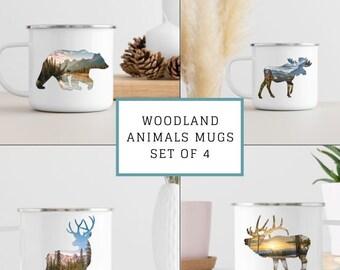 Animal Campfire Mugs Set of 4