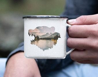 Bear Head Enamel Camping Mug