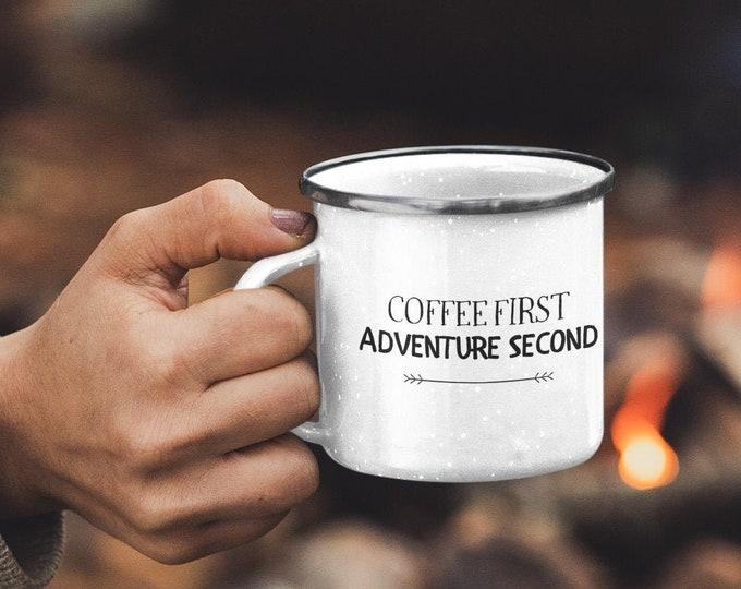 Enamel Coffee First Mug