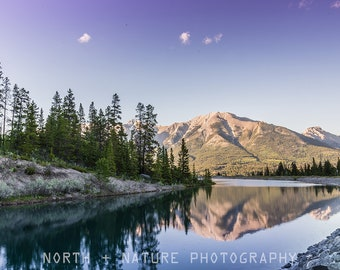 Mountain reflection wall art - Lake wall art - Canmore photography - Rocky Mountains - Whimsical wall decor - Alberta photography - Nature