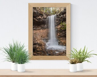 Waterfall Print, Forest Print, Nature Wall Decor, Cottage Decor, Cabin Gift, Rustic Home Decor, Woodland Print, Canvas Wall Art, Tranquility