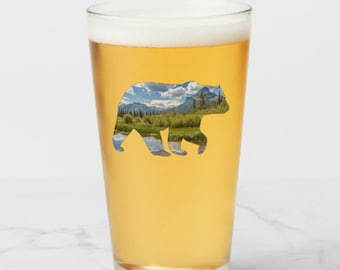 Bear Pint Glass, Mountain Beer Glass, National Park Beer Glass, Gift for Him, Gift for Dad