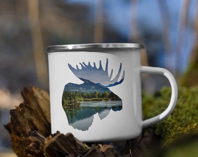 Enamel Moose Mug Camping Mug Mountain Mug Wildlife Mug National Park Mug Gift for Him Gift for Dad Birthday Gift Gift for Her Wanderlust