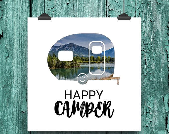 Happy Camper Wall Art, Camping Print, Mountain Wall Decor, Travel Lover Gift