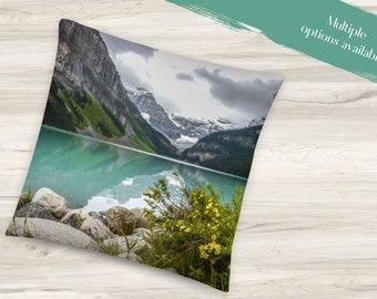 Turquiose Mountain Throw Pillow