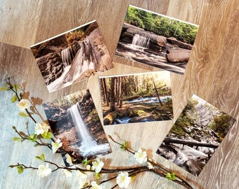 Nature card set - Set of 5 cards - Canadian waterfall cards - Tree card - Forest card - Blank greeting cards - Rustic stationery - Woodland