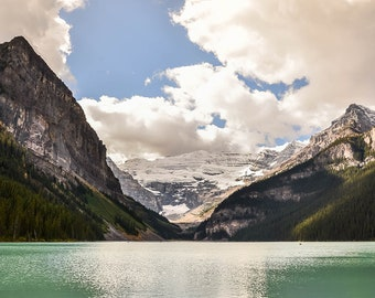 Lake Louise wall art - Mountain lake wall art - Canadian Rockies photography print - Banff photography - Rustic home decor - Large canvas