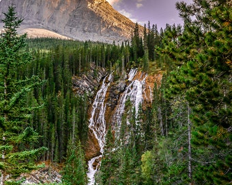 Mountain waterfall wall art - Canadian Rockies wall print - Nature photography - Alberta - Adventure awaits - Forest wall print - Woodland