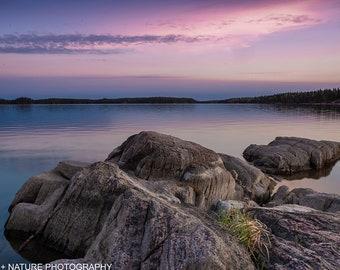 Sunset off Paint Lake wall art