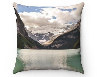 Lake Louise pillow - Mountain lake pillow - Rustic pillow - Canadian Rockies - Nature print pillow - Cottage decor - Forest pillow - Banff