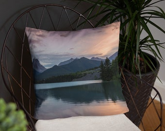 Mountain sunset pillow - Lake pillow - Rocky Mountains - Whimsical decor- Cottage decor - Nature gift for her - Housewarming gift - Banff