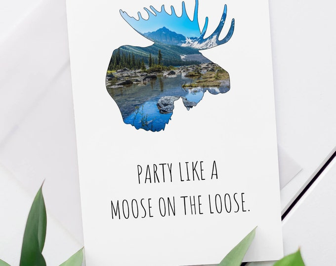 Funny Moose Card, Mountain Card