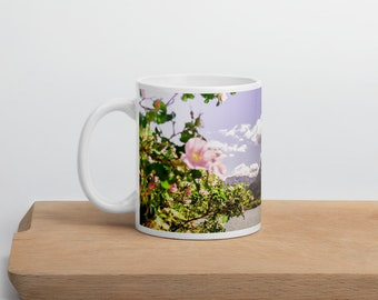 Flower Coffee Mug for Nature Lover Spring Home Decor Floral Mothers Day Gift Mountain House Decor Gift for Mom Cozy Cottage Gift Idea