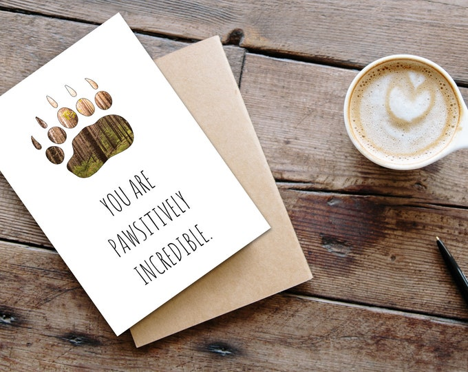 Humorous Bear Paw Card