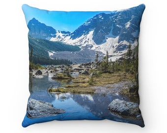 Mountain pillow - Canadian Rockies pillow - Rustic pillow - Nature decor - Rustic home decor - Housewarming gift - Tree pillow - Lake pillow