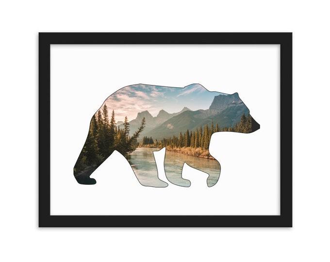 Bear Wall Decor, Mountain Wall Decor, Large Wall Art, Woodland Wall Decor, Inspirational Art, Nature Photography, Rustic Home Decor