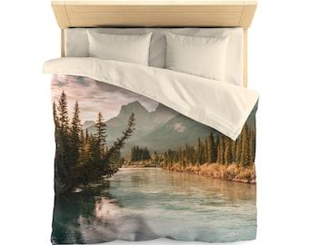 Rocky Mountains Duvet Cover, Mountain Duvet, Nature Duvet, Rustic Home Decor, Banff National Park