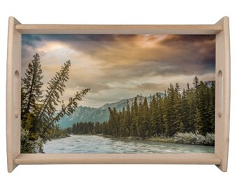 Rocky Mountain Sunrise Wooden Tray