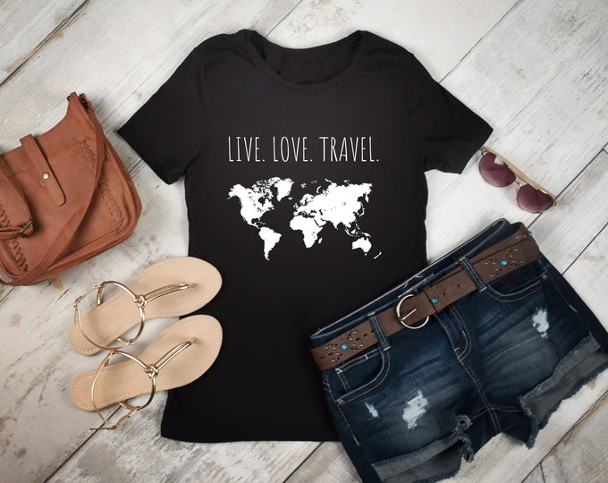 Womens World Map T-Shirt with Inspirational Travel Quote