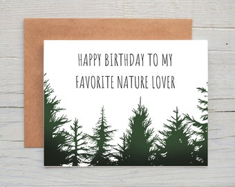 Nature Lover Birthday Card, Forest Birthday Card, Tree Birthday Card, Nature Birthday Gift