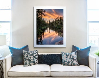 Forest Print, Sunset Print, Sky Photography, Water Photography, Reflection Print, Canvas Wall Art, Nature Wall Decor, Calming Gift, Woodland