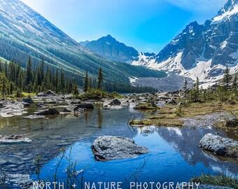 Canadian Rockies wall art - Banff photography print - Mountain lake wall decor - Framed canvas print - Woodland decor - Housewarming gift