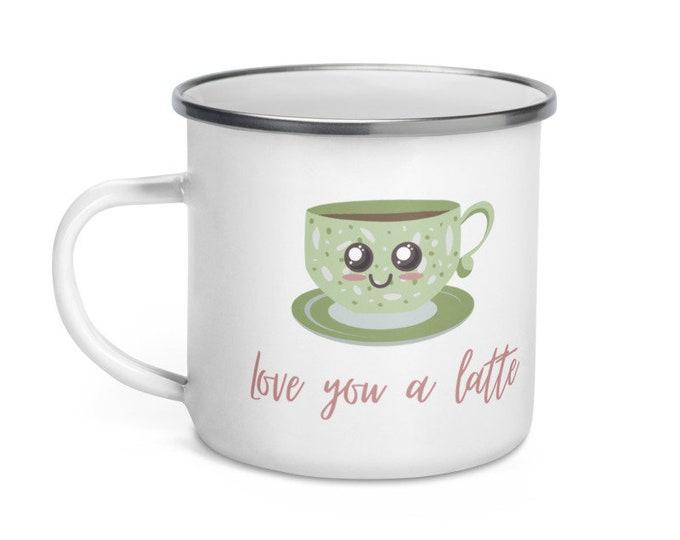 Love You A Latte Enamel Mug